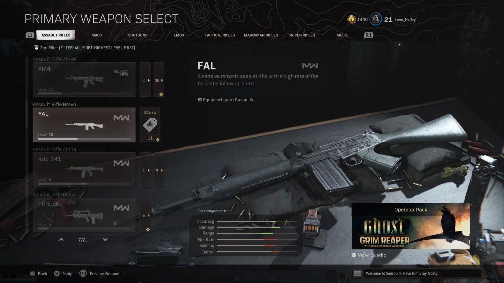 Изменения в Warzone штурмовой винтовки Bravo в обновлении Season 4 Reloaded